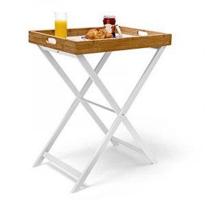Relaxdays Table d'appoint pliable bambou plateau amovible HxlxP: 72 x 60 x 40 cm Plateau de lit support table bout de canapé, blanc nature de la marque image 0 produit