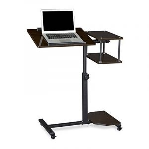 Relaxdays Table ordinateur portable hauteur réglable XL HxlxP: 100 x 77 x 40 cm bois support laptop netbook avec 4 roulettes blocables tablette surface pour souris antidérapant table d'appoint, noir de la marque image 0 produit