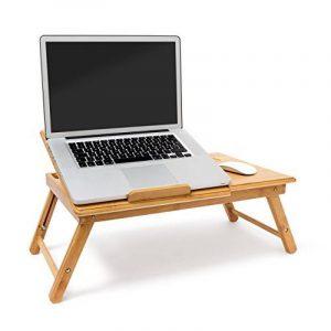 Relaxdays Table pliante pour ordinateur portable bambou Table d'appoint hauteur réglable Plateau pour la souris 30,5 x 72,5 x 35 cm, couleur naturelle de la marque image 0 produit