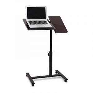 Relaxdays Table pour ordinateur portable hauteur réglable roulettes support pliable H x l x P: 95 x 60 x 40,5 cm bois d'ébène, noir de la marque image 0 produit