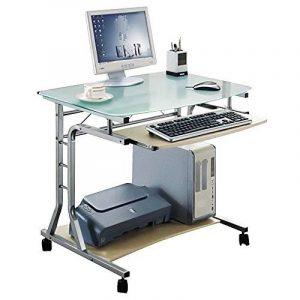 SixBros. Bureau Informatique Roulant - verre/érable - CT-3791A/41 de la marque image 0 produit