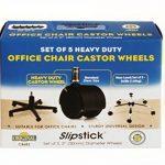 Slipstick Cb6825,1cm Roues de chaise de bureau de remplacement (lot de 5roulettes) universel standard Taille tige 7/40,6cm X 7/20,3cm–Plastique Noir de la marque image 3 produit