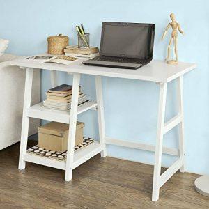 SoBuy® FWT16-W Bureau informatique Table Plan de travail avec 2 étagères -Blanc de la marque image 0 produit