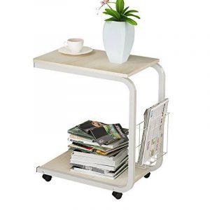 Soges Table pour ordinateur portable roulettes support, Table d'appoint pour ordinateur portable, 51 x 30 x 56 cm, érable blanc de la marque image 0 produit