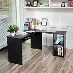 Songmics Bureau Informatique Table d'ordinateur d'angle grande avec Clavier Coulissant 140 x 120 x 75 cm noir LCD810B de la marque image 1 produit