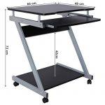 Songmics Bureau Informatique Table Informatique Meuble de Bureau Pour Ordinateur noir LCD811B de la marque image 3 produit