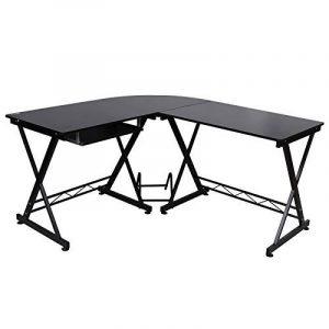 Songmics Bureau Informatique Table Informatique Travail Ordinateur Meuble de Bureau pour noir, 150 x 138 x 75 cm, LCD402B de la marque image 0 produit