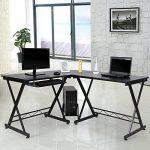 Songmics Bureau Informatique Table Informatique Travail Ordinateur Meuble de Bureau pour noir, 150 x 138 x 75 cm, LCD402B de la marque image 1 produit