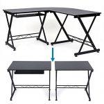 Songmics Bureau Informatique Table Informatique Travail Ordinateur Meuble de Bureau pour noir, 150 x 138 x 75 cm, LCD402B de la marque image 5 produit