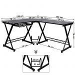 Songmics Bureau Informatique Table Informatique Travail Ordinateur Meuble de Bureau pour noir, 150 x 138 x 75 cm, LCD402B de la marque image 6 produit