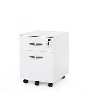 Songmics caisson de bureau caisson de rangement classeur armoires basses 2 tiroirs pour dossiers suspendus blanc LCD22W de la marque image 0 produit