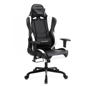 Songmics Chaise gamer Fauteuil de bureau Chaise pour ordinateur hauteur réglable noir + blanc RCG12W de la marque image 0 produit