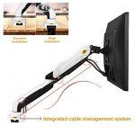 """STANDMOUNTS Support moniteur support de bureau pour écran pc LCD LED OLED 17-27"""" (43-69 cm) bras articulé réglage multi-axes, pivotant ressort à gaz VESA 75x75 100x100 console F80 Blanc de la marque image 1 produit"""