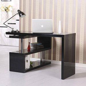 Table bureau table informatique adjacente pivotante1-360°avec étagères noir 12 de la marque image 0 produit