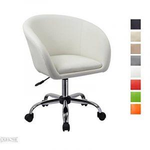 Tabouret à roulettes en similicuir Blanc Fauteuil de bureau chaise pivont avec dossier réglable en hauteur sélection de couleur WY-440F de la marque image 0 produit