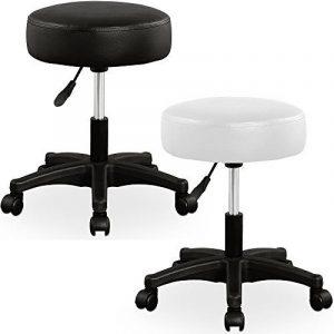 Tabouret noir à roulettes - Pivotable 360°- réglable en hauteur - coussin 7cm de la marque image 0 produit