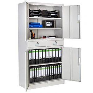 TecTake Armoire de bureau metallique avec 4 portes battantes et 2 tiroirs verrouillable 180x90x40cm de la marque image 0 produit