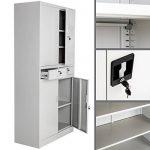 TecTake Armoire de bureau metallique avec 4 portes battantes et 2 tiroirs verrouillable 180x90x40cm de la marque image 3 produit