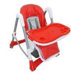 Todeco - Chaise Haute pour Bébé, Chaise Pliante pour Bébé - Taille déployée: 105 x 75 x 60 cm - Matériau: PP - Rouge de la marque image 1 produit