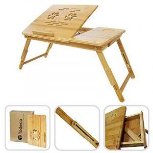 Todeco - Table Portable pour Ordinateur, Plateau de Lit Pliable - Matériau: Bambou - Taille du bureau: 55,1 x 35,1 cm - Bureau réglable avec trous d'aération de la marque image 0 produit
