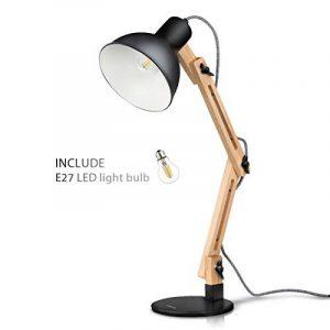 Tomons Décoration Lampe de Table LED Lampe de Bureau Salon Design Original Lampe en Bois Architecte Moderne Réglable Luminaire Industrielle à Poser, Noire de la marque image 0 produit