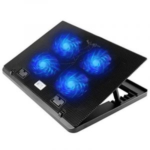 """TONOR Refroidisseur pour Ordinateur Portable 12""""-17"""" PC Notebook Laptop Réglables Radiateur 4 Ventilateurs Silencieux Support Ventilé avec 2 USB Noir de la marque image 0 produit"""