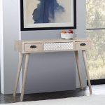 VIVA HOME Table console en bois, 105 x 36 x 80 cm, Table d'appoint de dessin rustique, avec 3 différents tiroirs, Couleur marron claire de la marque image 4 produit
