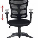 Viva Office Chaise ergonomique pour bureau en maille avec dossier moyen, appui-tête et accoudoirs réglables, Noir de la marque image 4 produit