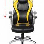 Viva Office Chaise Gaming ergonomique en cuir régénéré, avec dossier haut, accoudoirs rembourrés et amovibles, Noir et Jaune de la marque image 3 produit