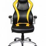 Viva Office Chaise Gaming ergonomique en cuir régénéré, avec dossier haut, accoudoirs rembourrés et amovibles, Noir et Jaune de la marque image 5 produit