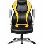 Viva Office Chaise Gaming ergonomique en cuir régénéré, avec dossier haut, accoudoirs rembourrés et amovibles, Noir et Jaune de la marque image 6 produit