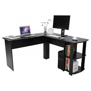Yosoo Forme L Bureau d'ordinateur, Ordinateur portable avec Bibliothèque,Bureau de coin pour étudier et travailler (Noir) de la marque image 0 produit
